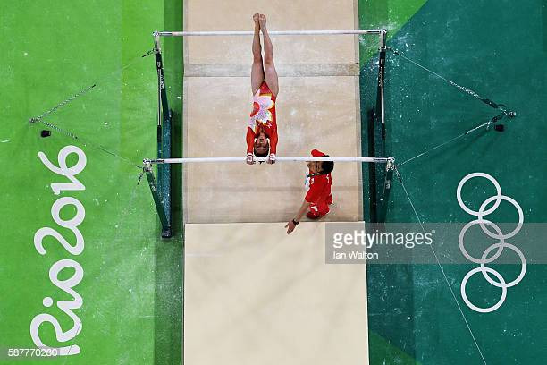 Asuka Teramoto of Japan competes on the uneven bars during the Artistic Gymnastics Women's Team Final on Day 4 of the Rio 2016 Olympic Games at the...