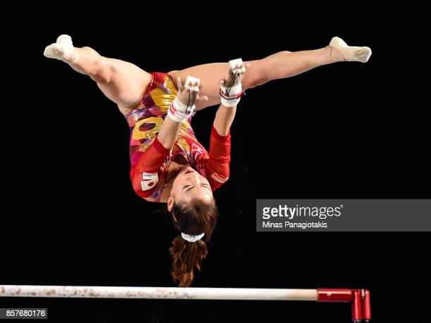 Asuka Teramoto of Japan competes on the uneven bars during the qualification round of the Artistic Gymnastics World Championships on October 4 2017...