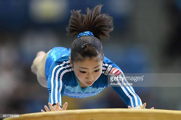 Asuka Teramoto of Japan competes on the Vault during the 68th All Japan Gymnastics Apparatus Championships on July 6 2014 in Chiba Japan
