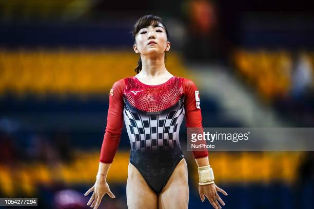 Asuka Teramoto of Japan during Floor qualification at the Aspire Dome in Doha Qatar Artistic FIG Gymnastics World Championshipson 27 of October 2018