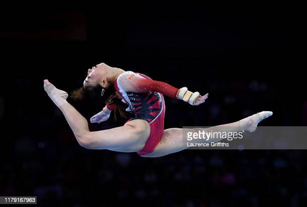 Asuka Teramoto of Japan performs her floor routine during Day 2 of the FIG Artistic Gymnastics World Championships on October 05 2019 in Stuttgart...