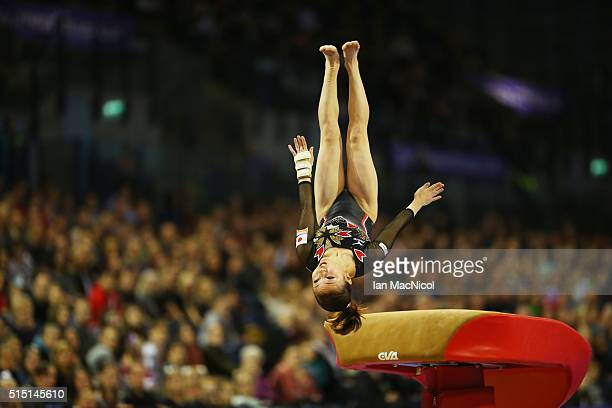 Asuka Teramoto of Japan performs on the Vault during the 2016 FIG Artistic World Cup at The Emirates Arena on March 12 2016 in Glasgow Scotland