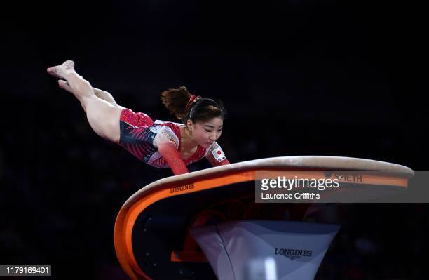 Asuka Teramoto of Japan performs on Vault during Day 2 of the FIG Artistic Gymnastics World Championships on October 05 2019 in Stuttgart Germany