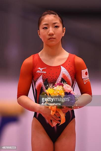 Asuka Teramoto of Japan poses on the podium in the Women's All Around Final during Gymnastics Tokyo World Cup 2014 at Tokyo Metropolitan Gymnasium on...