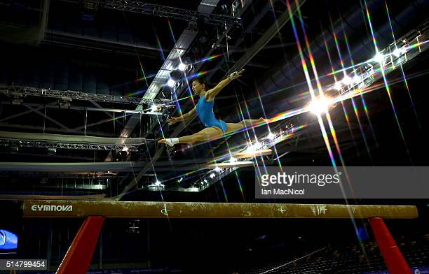 Asuka Teramoto of Japan preforms on the Beam during practice prior to the 2016 FIG Artistic World Cup at The Emirates Arena on March 11 2016 in...