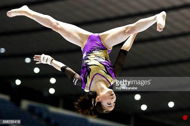 Asuka Teramoto on the beam during the AllJapan Gymnastic Appratus Championships at Yoyogi National Gymnasium on June 5 2016 in Tokyo Japan