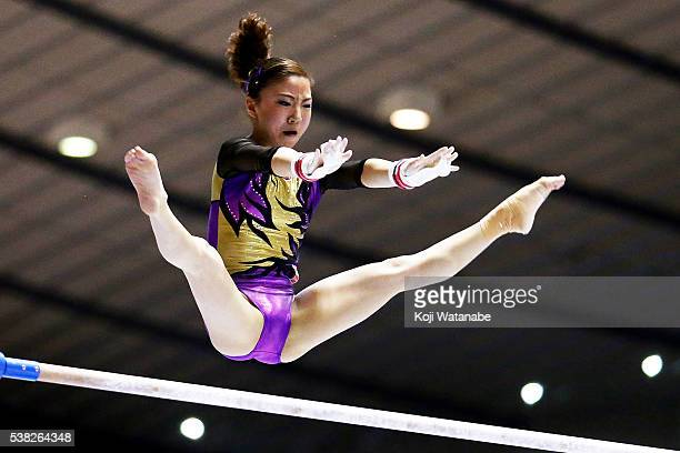 Asuka Teramoto on the uneven bars during the AllJapan Gymnastic Appratus Championshipsat Yoyogi National Gymnasium on June 5 2016 in Tokyo Japan