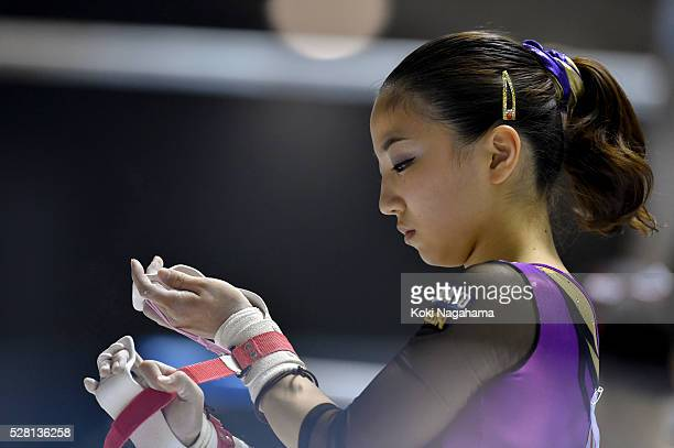 Asuka Teramoto prepares for the Uneven Parallel Bars during the Artistic Gymnastics NHK Trophy at Yoyogi National Gymnasium on May 4 2016 in Tokyo...