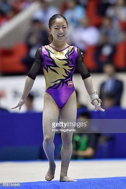 Asuka Teramoto smiles after the Floor Exercise during the Artistic Gymnastics NHK Trophy at Yoyogi National Gymnasium on May 4 2016 in Tokyo Japan
