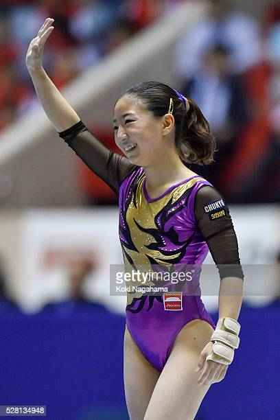 Asuka Teramoto waves for fans after the Floor Exercise during the Artistic Gymnastics NHK Trophy at Yoyogi National Gymnasium on May 4 2016 in Tokyo...