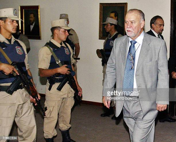 Former Paraguayan President Raul Cubas arrives to the court before the announcement by the Justice of the sentence to 15 peoples accused of...