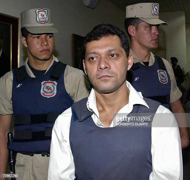 Omar Martinez cabecilla del grupo que secuestro y asesino a la nina Maria Cecila Cubas ingresa en la sala del Tribunal de juicio oral y publico...