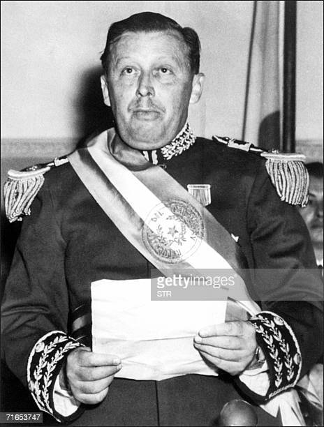 Undated picture of Paraguayan president Alfredo Stroessner reading a declaration in Asuncion Stroessner who ruled his country with an iron fist from...
