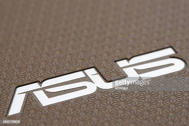 asus logo on the back side of eee pad transformer - logo design stock photos and pictures