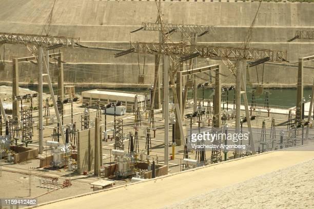aswan dam power plant, egypt - argenberg stock-fotos und bilder