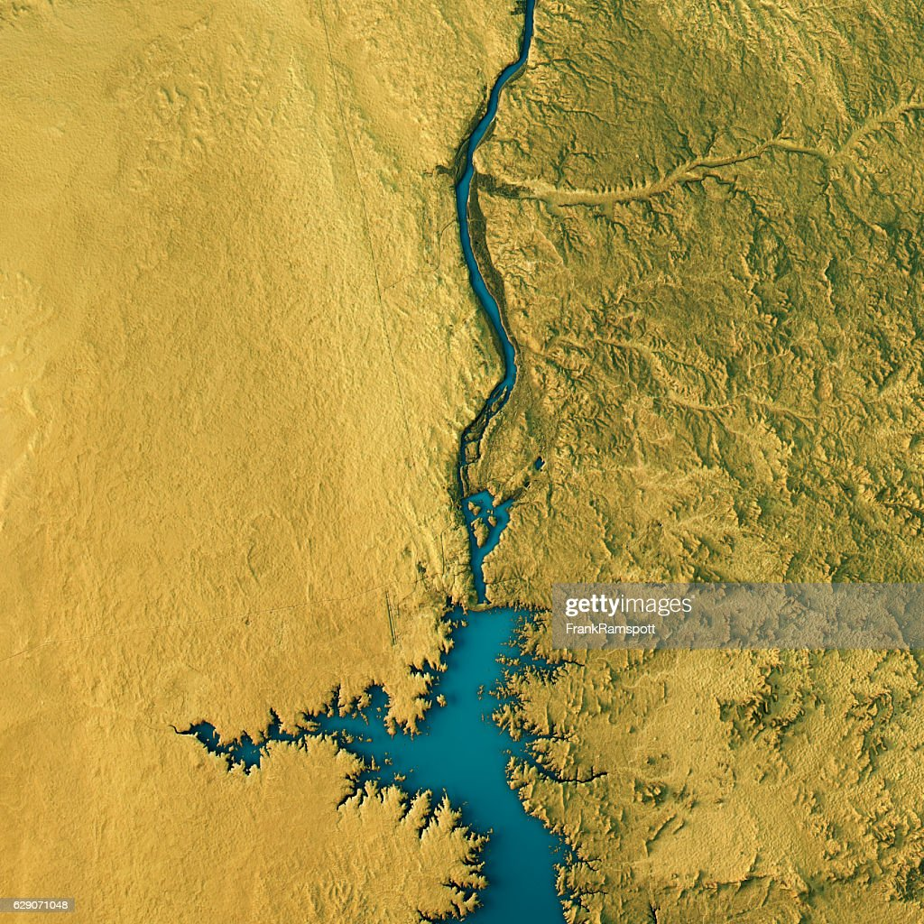 Aswan Dam Topographic Map Natural Color Top View : Stock Photo