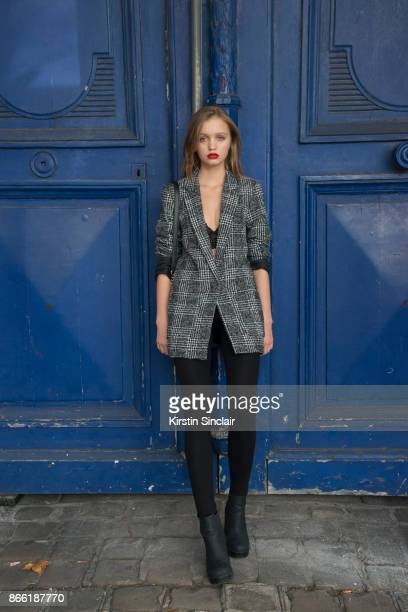 Asya wears an HM jacket day 2 of Paris Womens Fashion Week Spring/Summer 2018 on September 27 2017 in London England