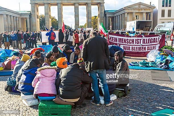 Asyl Demonstration auf dem Brandenburger Tor