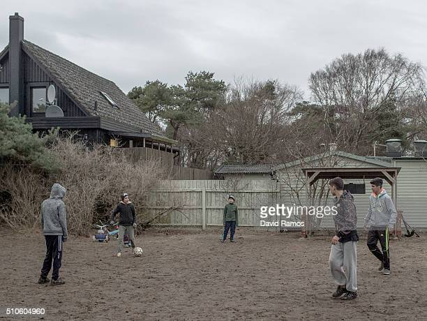 Asylum seekers from Afghanistan play football in a summer holidays resort where they are living for the last 4 months on February 7 2016 in Halmstad...