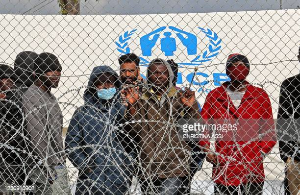 Asylum seekers staying in the Pournara temporary accommodation centre protest over delays in their application process and what they described as the...