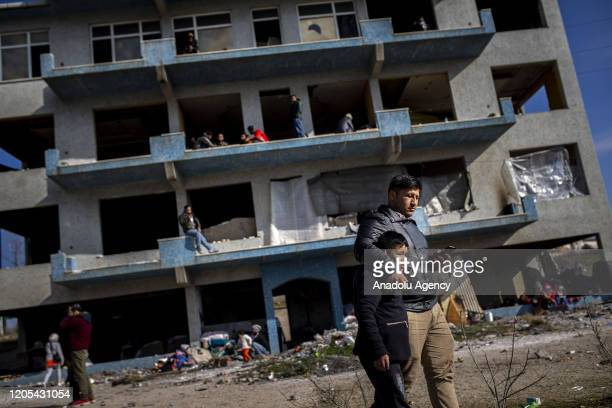 Asylum seekers, who came from Istanbul and many provinces of Turkey, are seen in a derelict building as they continue to wait to enter Greece, in...