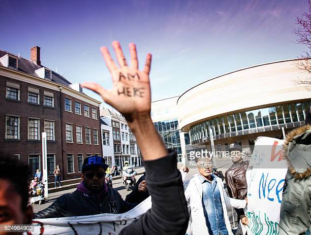 Asylum seekers who have been refused permits to stay in The Netherlands protested for the second day in a row in the Dutch capital on April 17 2015...