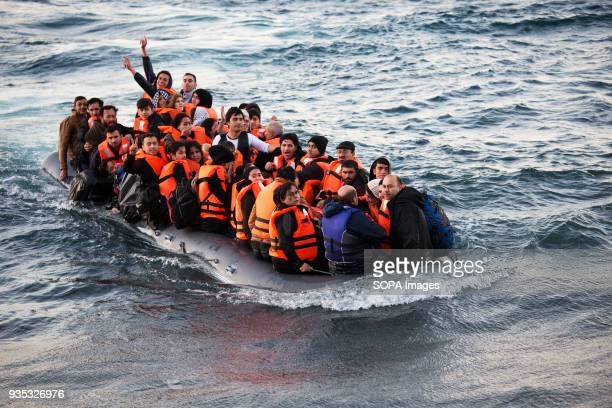 Asylumseekers celebrating after crossing the Aegean Sea from Turkey in rough weather In 2015 more than a million immigrants arrived in Europe by sea...