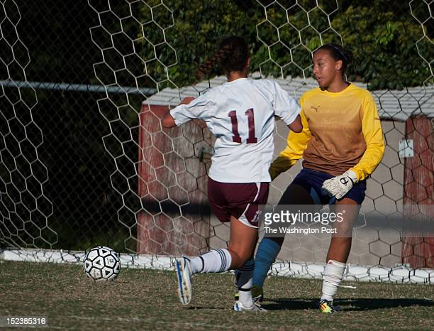 At 1241 in the second half Sidwell's Michael scores with this kick past NCS's GK Erica Sanders on Wednesday September 19th 2012 This is Sidwell's...