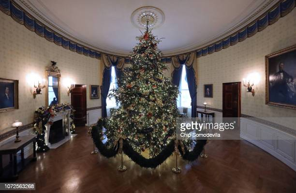 At 18 feet tall the official White House Christmas is dressed in over 500 feet of blue velvet ribbon embroidered in gold with each state and...