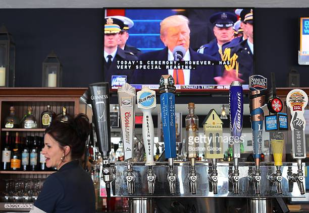 At 308 Lakeside Restaurant and Bar in East Brookfield Mass bartender Tammy Wonderlie stands behind the bar where she and customers and watched US...