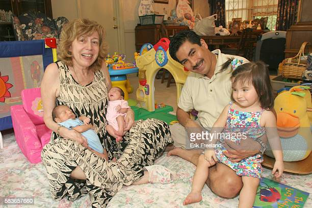 At 59 years old Lauren Cohen of Paramus NJ is the oldest mother in the USA to give birth to twins Gregory Rafael Garcia in blue onesy and Giselle...