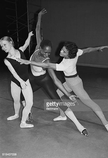 At a 5/3 rehearsal for a 5/4 benefit Judith Jamison of the Alvin Ailey American Dance Theater joins Maria Llorente and Lazaro Carreno two young stars...