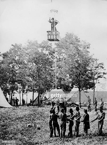 At a camp of Union troops An observation balloon rises np no year Photography