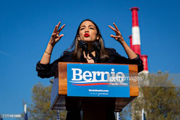 "At a campaign rally in Queens, New York, Rep. Alexandria Ocasio-Cortez endorsed Sen. Bernie Sanders presidential bid. The event dubbed ""Bernie's Back..."