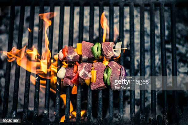 bbq at a campsite - metal grate stock pictures, royalty-free photos & images