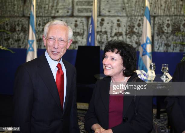 At a ceremony to renominate Professor Stanley Fischer to a second term as Governor of the Bank of Israel he poses with his deputy governor Dr Karnit...