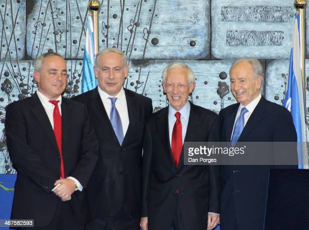 At a ceremony to re-nominate Professor Stanley Fischer to a second term as Governor of the Bank of Israel, he poses with, from left, former Finance...