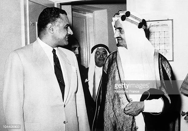 At a conference of the Arab League in Cairo around 1954 the Egyptian Prime Minister Gamal Abdel NASSER pictured speaking with his homologue and...
