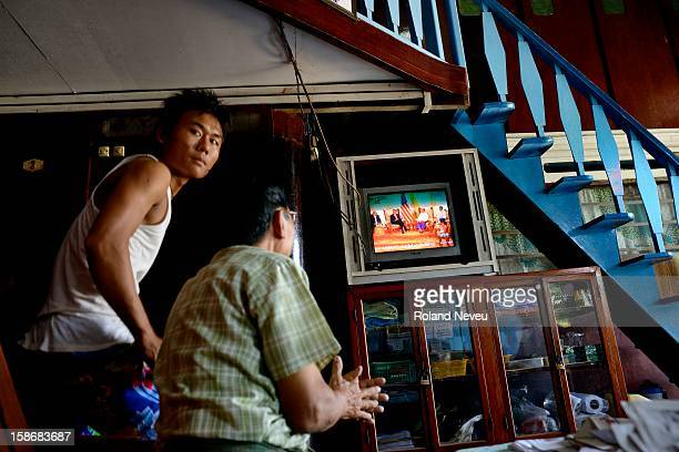 At a guesthouse on the Strand road in Mawlamyine the staff are watching the local TV news transmitting the visit of President Barack Obama in Yangon...