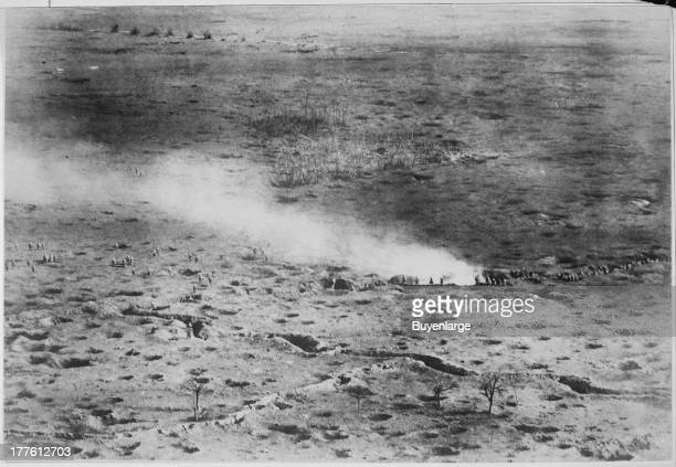 At a height of 150 meters above the fighting line the daring French photographer was able to get this rare photo showing an aerial view of a...