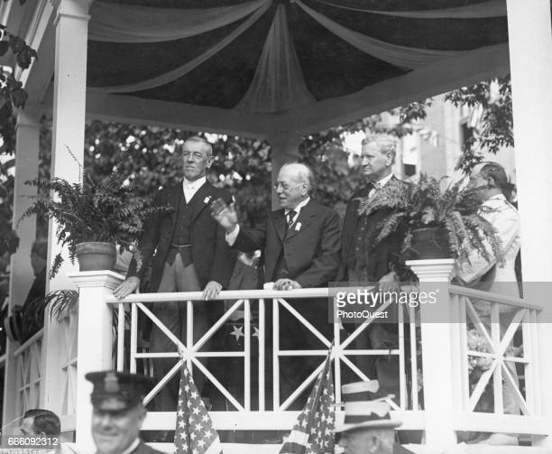 At a Labor Day Rally from left American politician US President Woodrow Wilson Englishborn American union leader and American Federation of Labor...