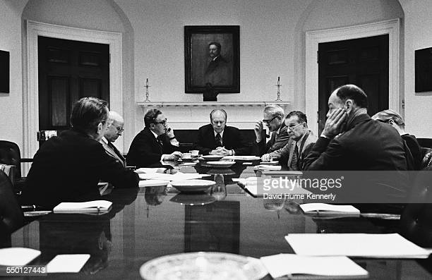 At a meeting of the National Security Council in the Roosevelt Room Ford makes the decision to continue to evacuate Americans and high risk...