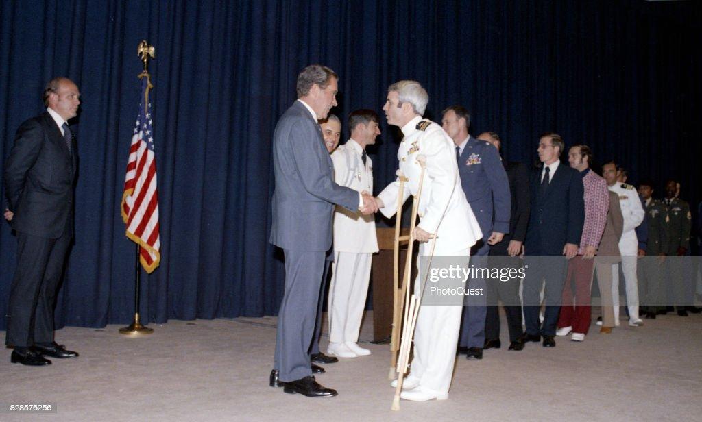 President Nixon Greets Captain McCain : News Photo