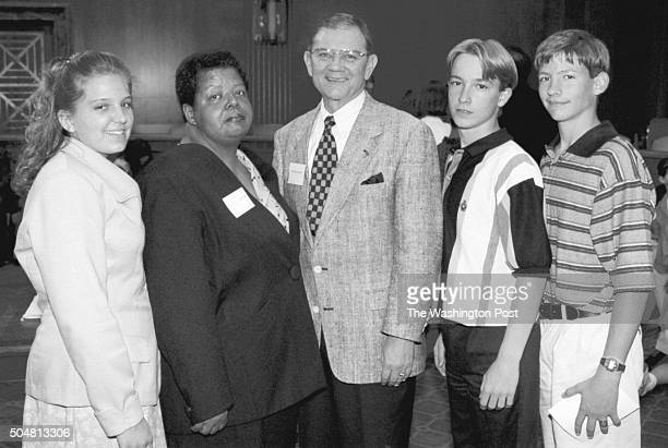 At a reception for a National History Contest at the Dirksen Building on Capitol Hill are Elizabeth Eckford Ken Reinhardt and Jeremy Johnston and...
