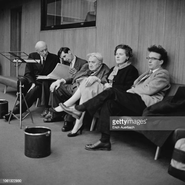 At a rehearsal of Michael Tippett's Second Symphony at the BBC Studios in Maida Vale, London, UK, 4th February 1958; from left, conductor Adrian...