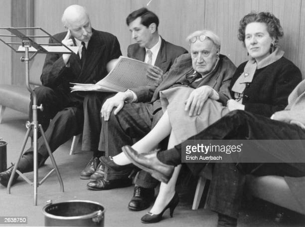At a rehearsal of Sir Michael Tippett's Second Symphony at the BBC Studios in Maida Vale, London, are from left, conductor Sir Adrian Boult ,...