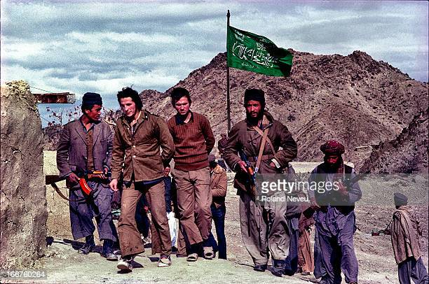 At a remote mudjahedeen training camp in the mountain of Zabul province two Russian soldiers prisoners are shown to a group of reporters for the...