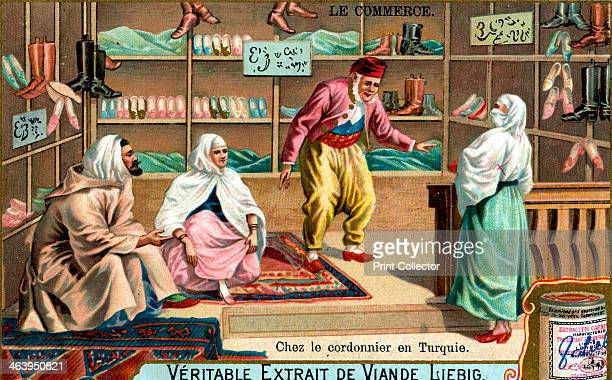 At a shoemaker's in Turkey c1900 French advertisement for Liebig's extract of meat