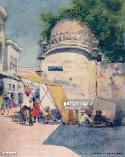 'At a Street Corner Amritsar' 1905 From India by Mortimer Menpes Text by Flora A Steel [Adam Charles Black London 1905] Artist Mortimer Luddington...