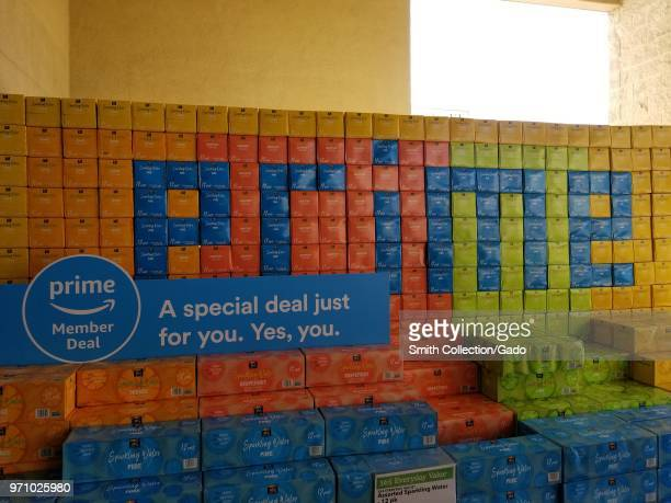 At a Whole Foods Market grocery store in San Ramon California colorful cases of sparkling water have been stacked to spell out the word Prime...